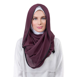 Pearl Daisy - Grape Bordered Chiffon Large Hijab - iloveza.com - 1