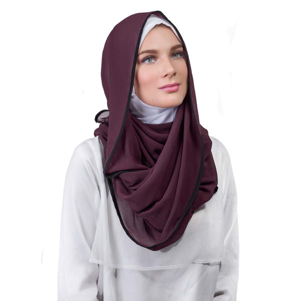 Pearl Daisy - Grape Bordered Chiffon Large Hijab - iloveza.com - 2