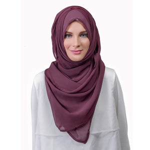Pearl Daisy - Grape Chiffon Large Hijab - iloveza.com