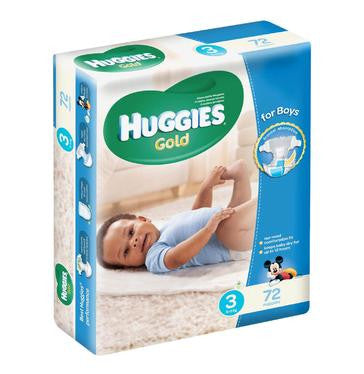 Huggies Gold Disposable Nappies Boy Size 3 (1 x 72's) - iloveza.com