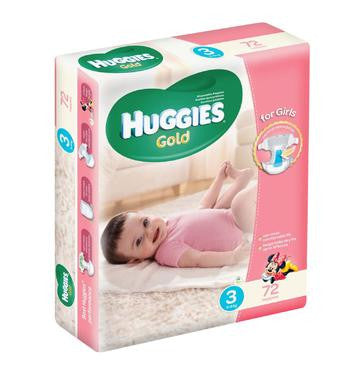 Huggies Gold Disposable Nappies Girl Size 3 (1 x 72's) - iloveza.com