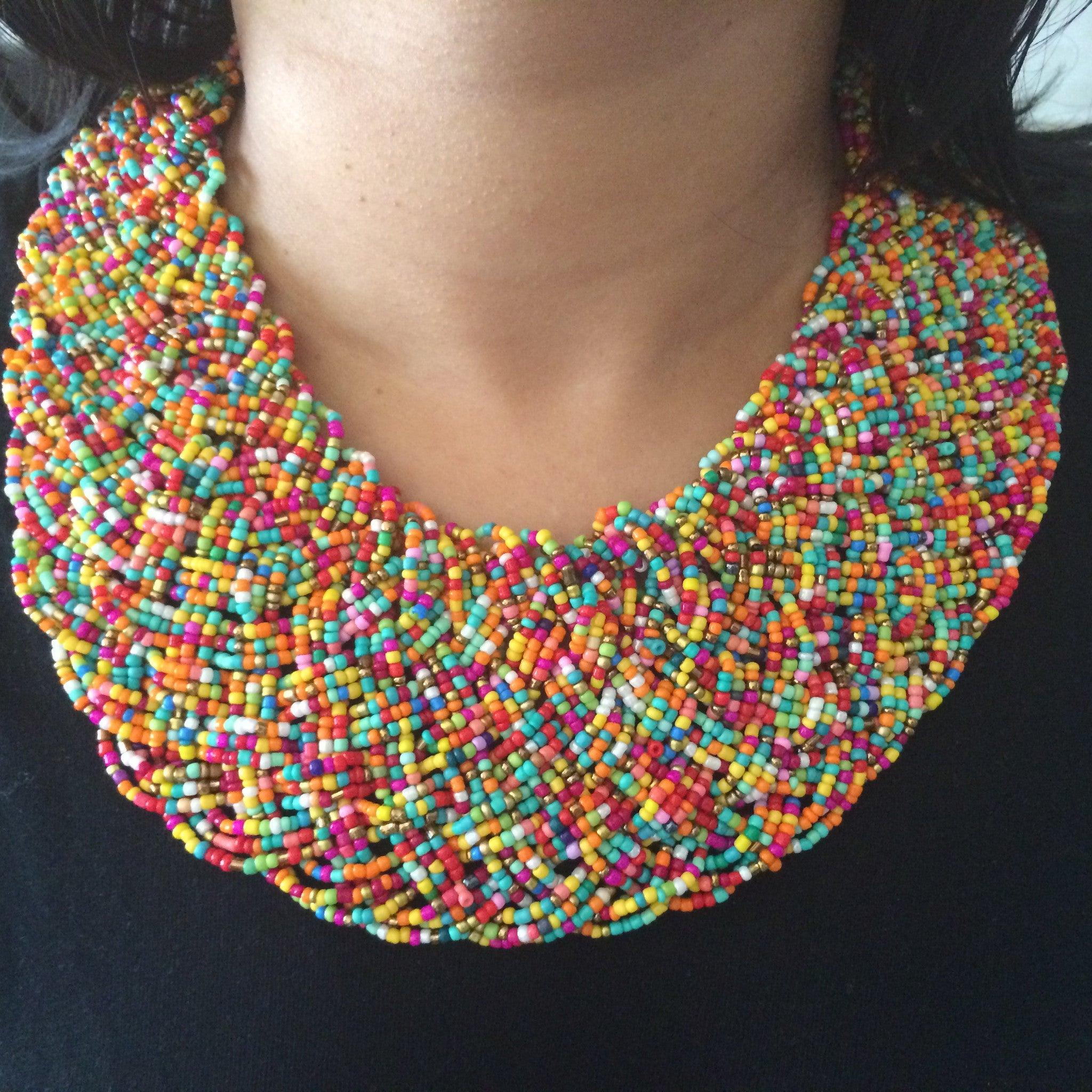 African Beaded Necklace (Multi-Coloured) - iloveza.com - 2