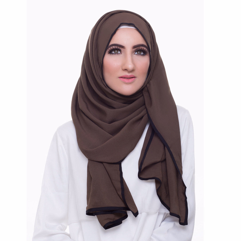 Pearl Daisy - Juniper Bordered Weightless Large Hijab - iloveza.com - 2