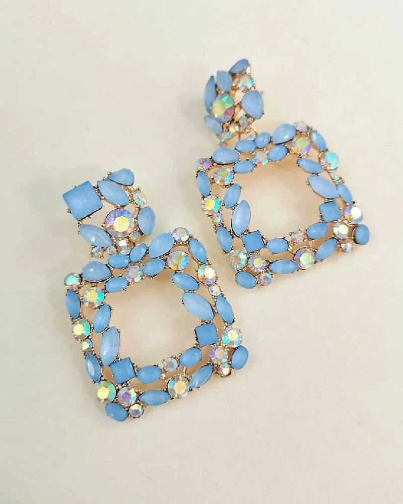 Azurite Geometric Rhinestone Earrings