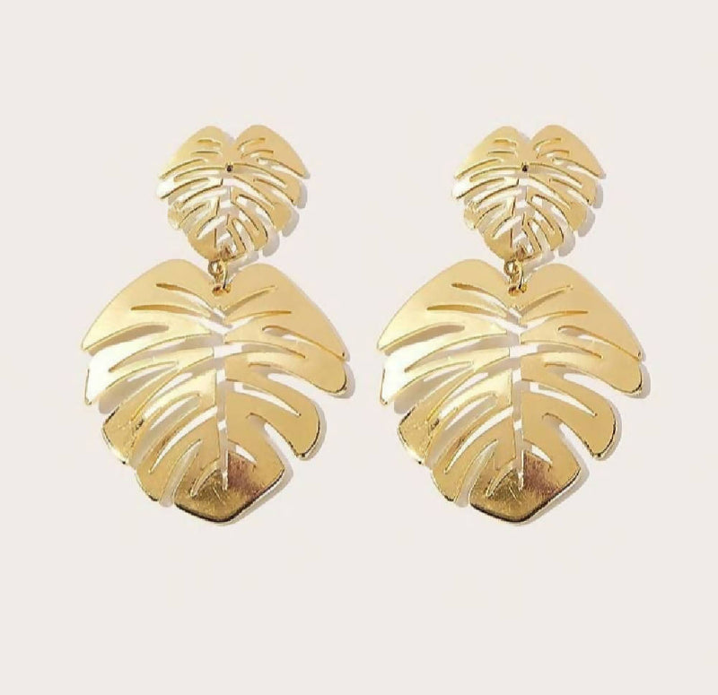Double Leaf Shaped Drop Earrings