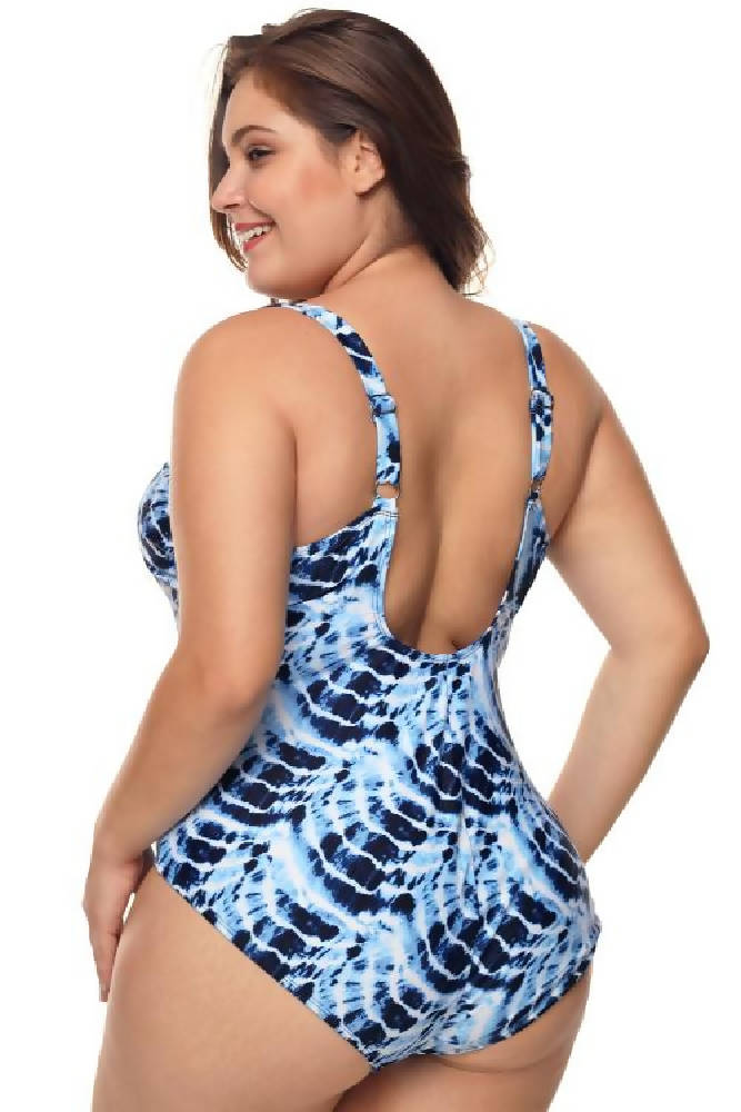 Plus Size Blue Neck Detail One Piece Swimsuit