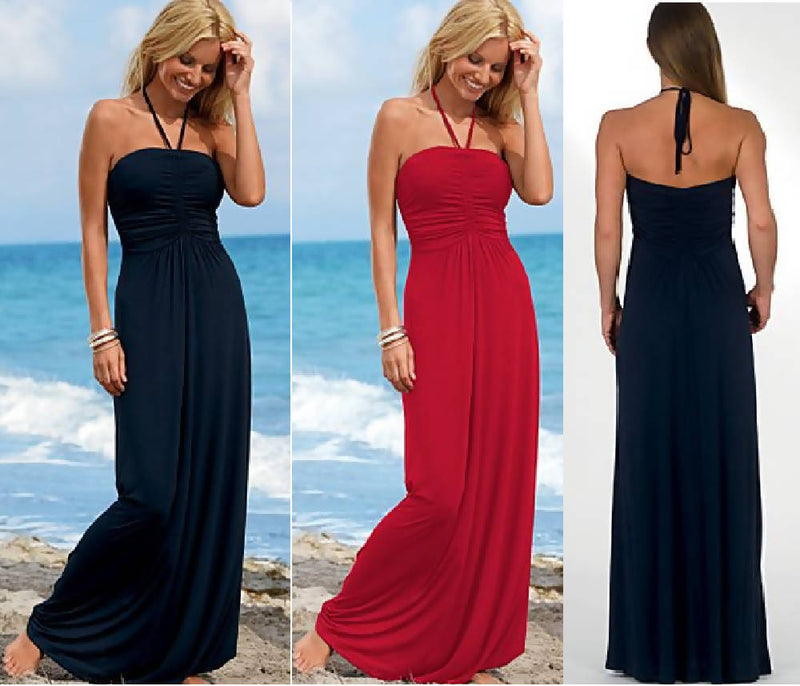 Halter Tie Back Maxi Dress
