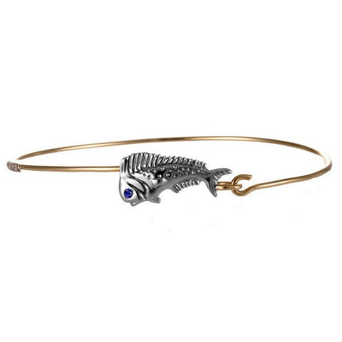 Bull dolphin bangle in 14kt gold