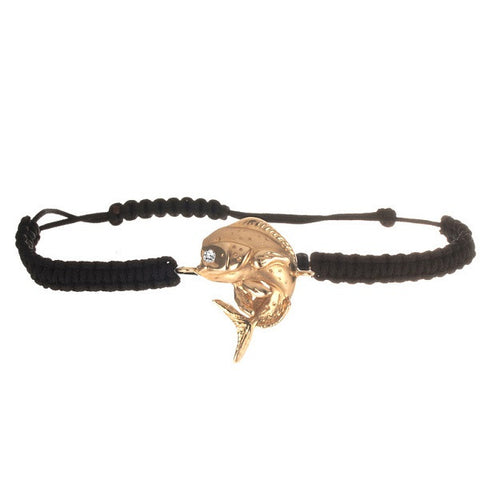 Bull dolphin in 14kt gold on black cord bracelet