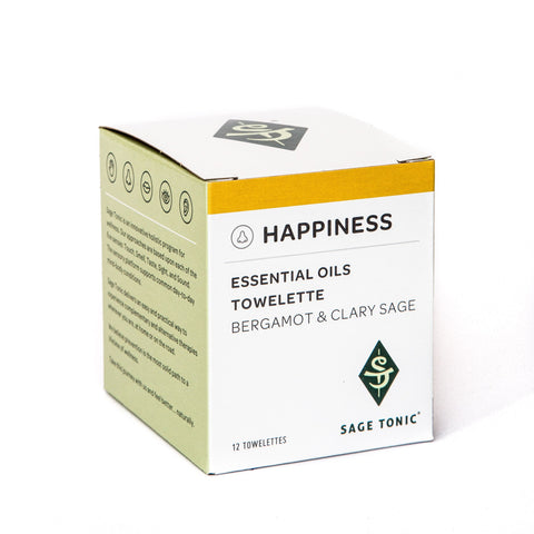 HAPPINESS - ESSENTIAL OILS TOWELETTES - BERGAMOT & CLARY SAGE