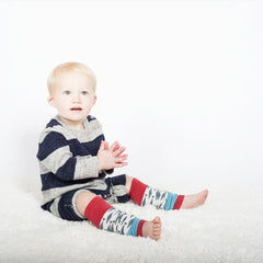 baby boy using alaskan fish model of pima cotton leg warmers