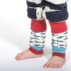 boy using alaskan fish model of pima cotton leg warmers