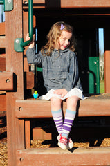Stripes Violet One Size Leg Warmers