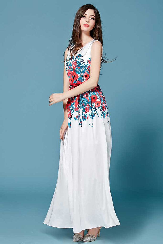 Floor Length White Tunic Dress with Printed Flowers