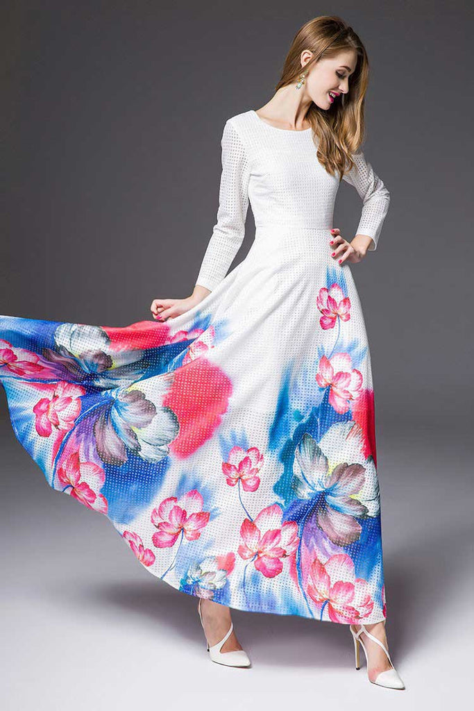 Floor Length White Maxi A-Line Dress