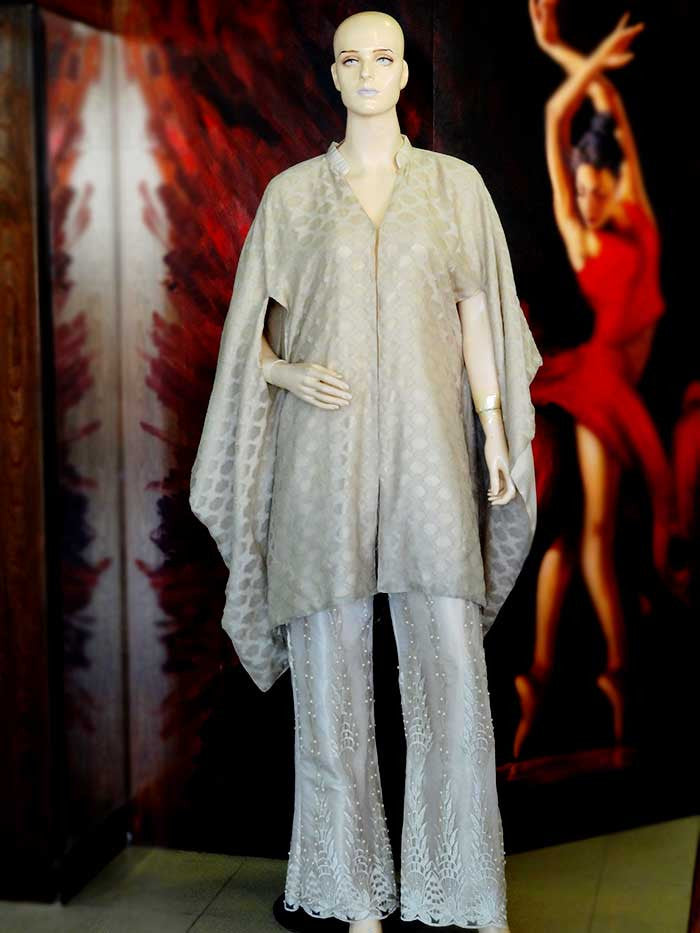 Beige Cape with Beautiful Embellished Flared Trousers by Anum Hassan