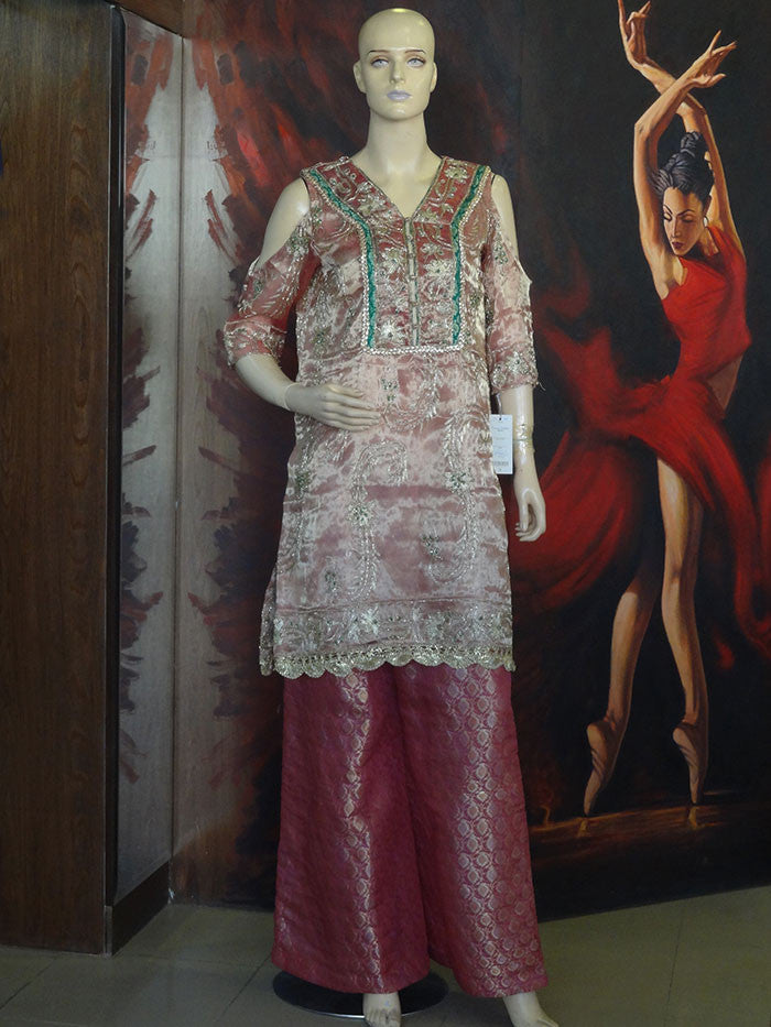 Tea Pink Formal Shirt with Jamawar Trousers