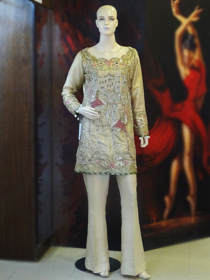Embellished Gold Tissue Shirt with Flared Trouser