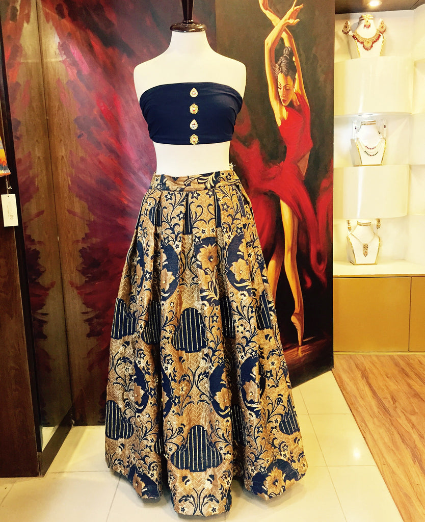Majestic Gold & Blue Lehnga