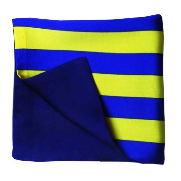 Yellow Blue Striped Silk Pocket Square