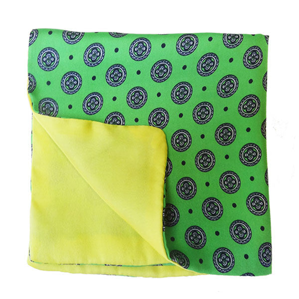Parrot Green & Yellow Silk Pocket Square
