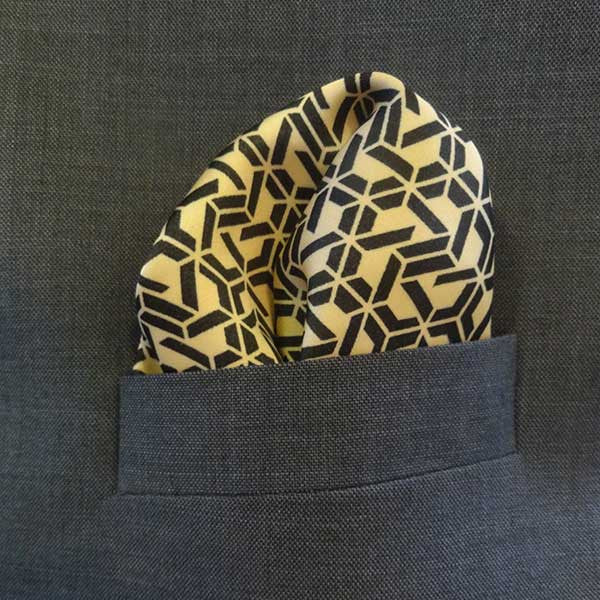 Black/Gold Geometric Silk Pocket Square