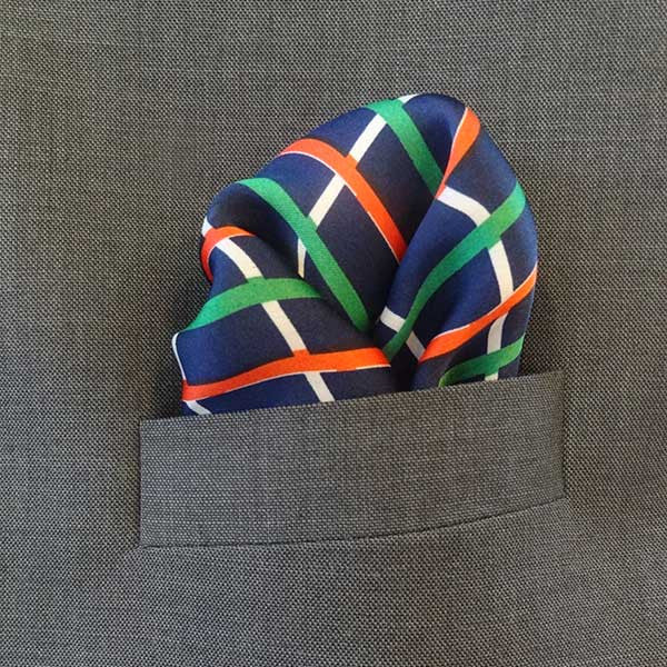 Blue Striped Silk Pocket Square