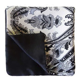 Black White Paisley Silk Pocket Square