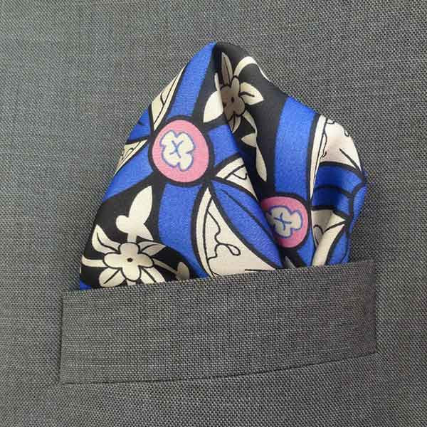 Blue Digital Graphic Silk Pocket Square