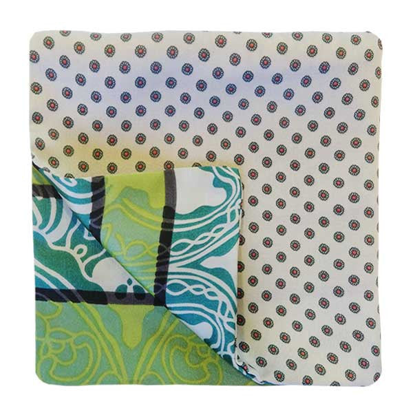 Green on White Silk Pock Square