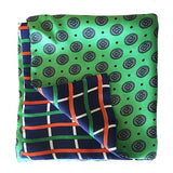 Green/Blue Circles Silk Pocket Square