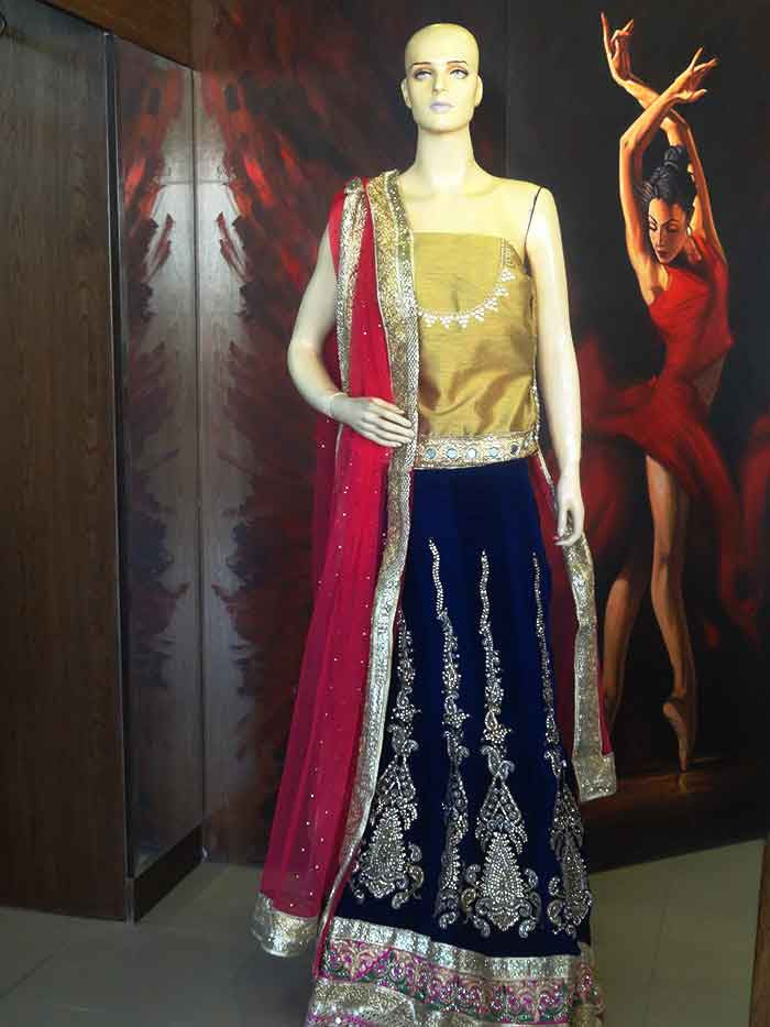 Blue Lehnga with Golden Choli