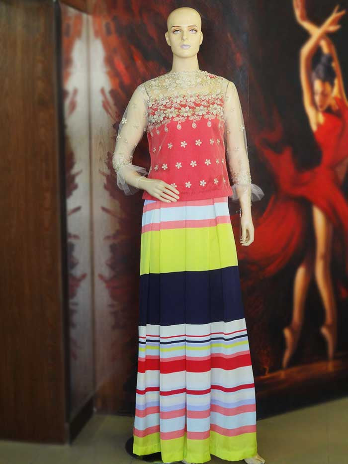 Striped Lehnga Floral Choli
