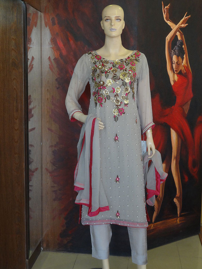 Floral Embellished Shirt with Trouser & Dupatta