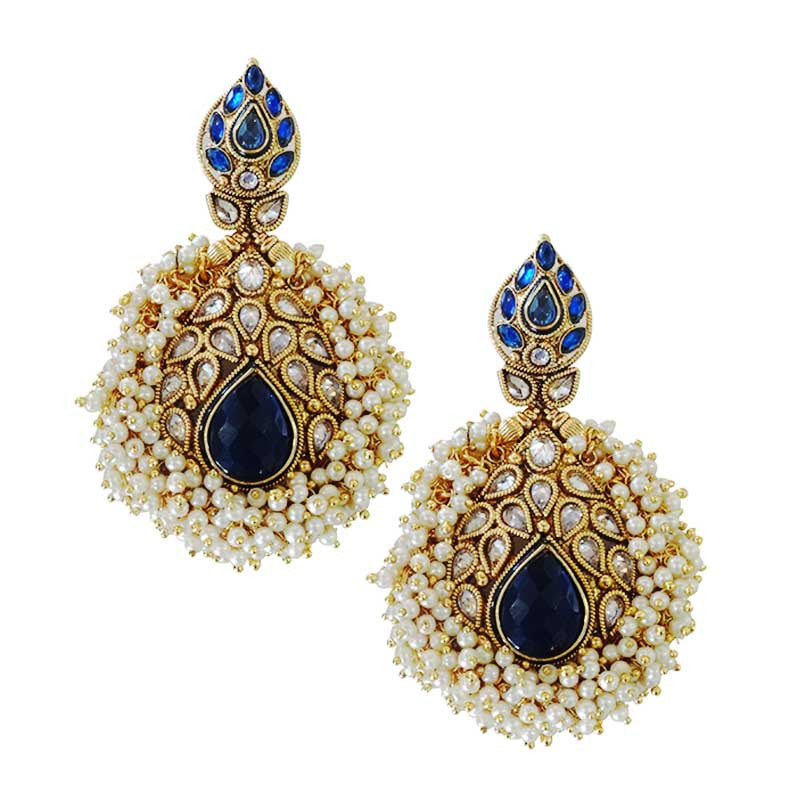 Gold Plated Earrings with Pearls and Zircons