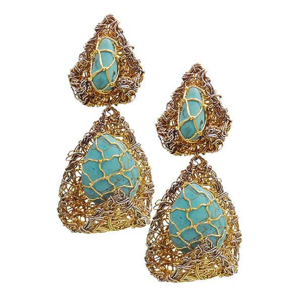 Gold Plated Earrings with Ferozas