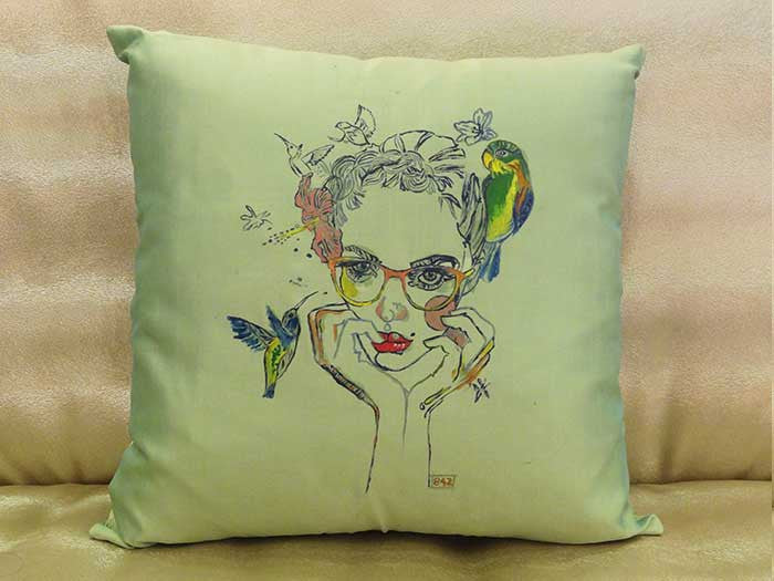 Hand-painted Fashionista Green Cushion