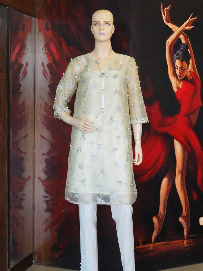 Hand-painted Organza Shirt with Pearls by Anum Hassan