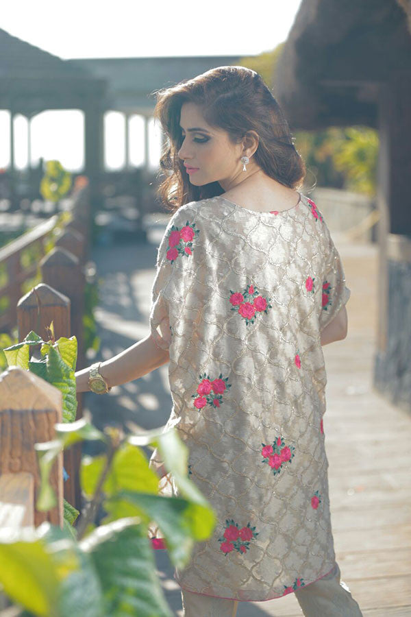Floral Gold Cape with Trouser