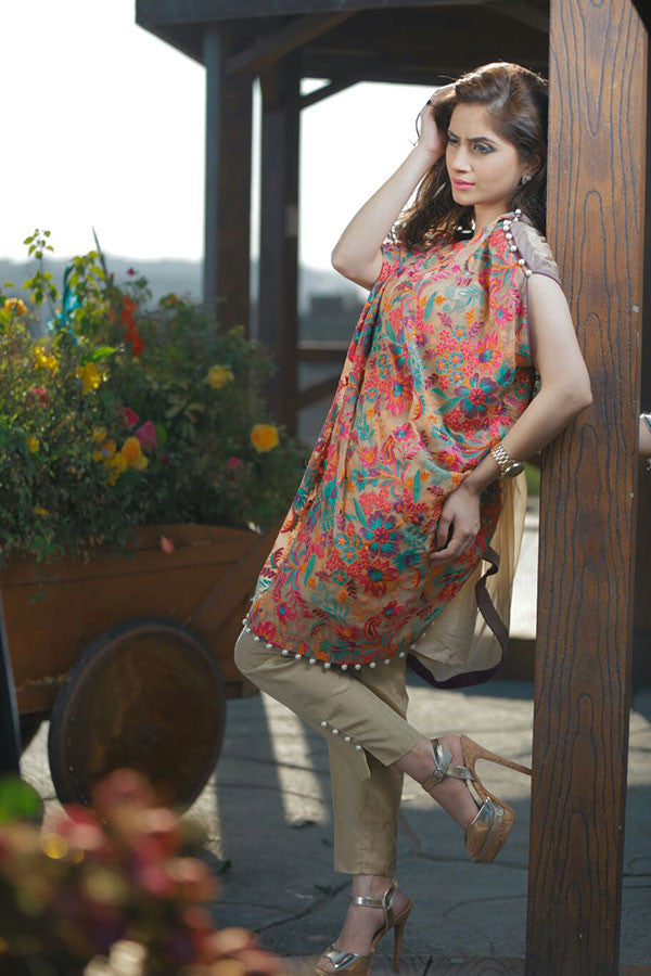 Multi Color Embroidered Cape with Trouser