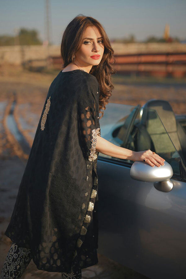 Embellished Black Cape with Trouser