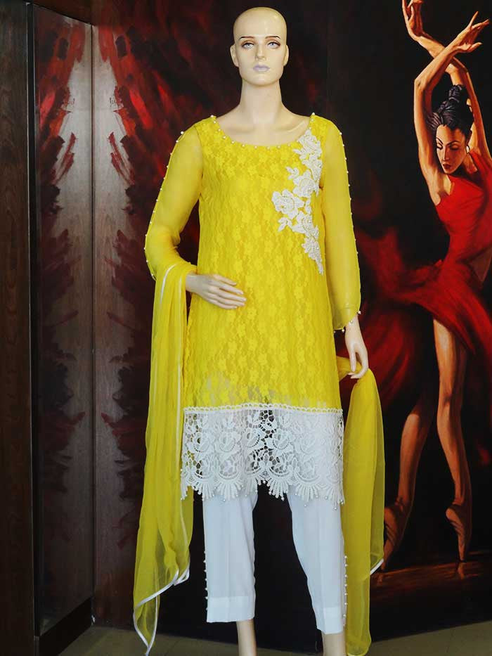 Yellow Shirt with Trouser and Dupatta