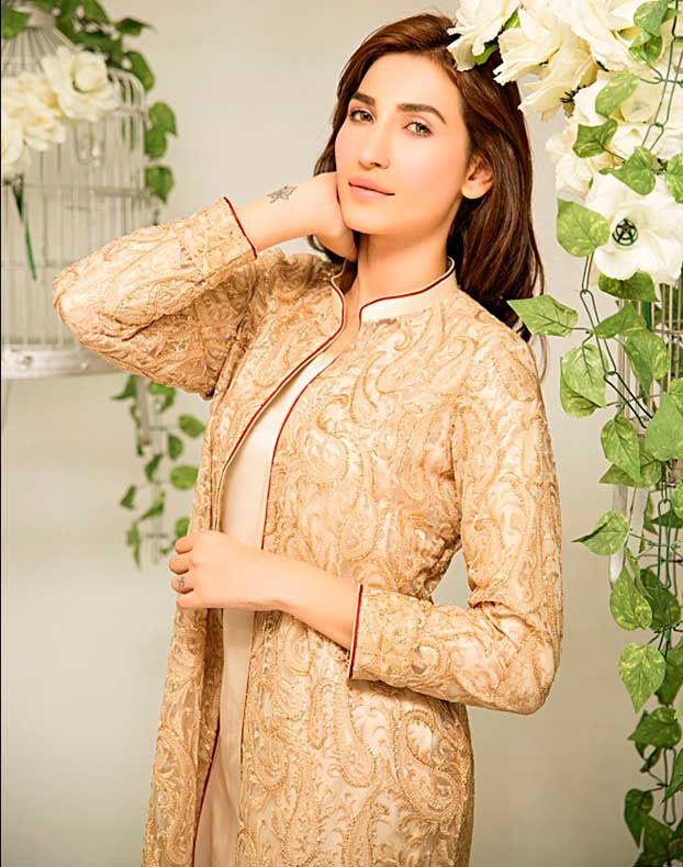 Golden Net Embroidered Gown with Trousers