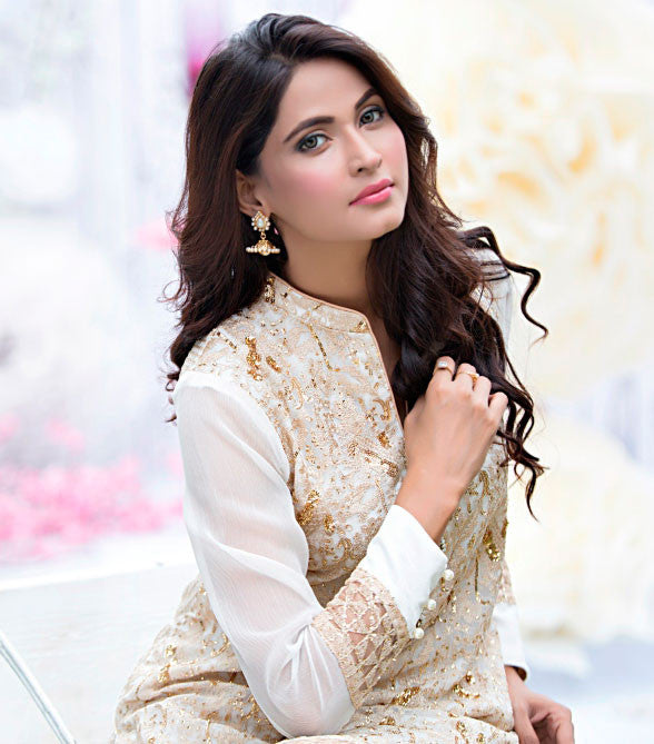 White and Gold Shirt by Zainab Hasan