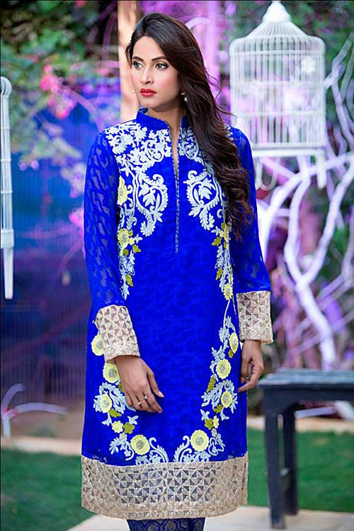 Royal Blue Cotton Net Shirt with Trouser