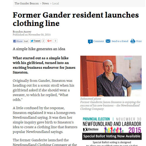 Newfoundland Clothing News Paper Clipping - Gander Beacon
