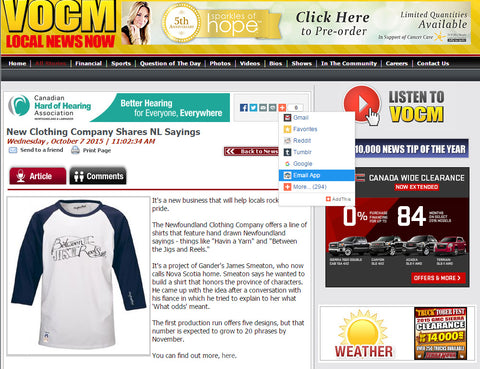 VOCM Newfoundland Clothing Company Article