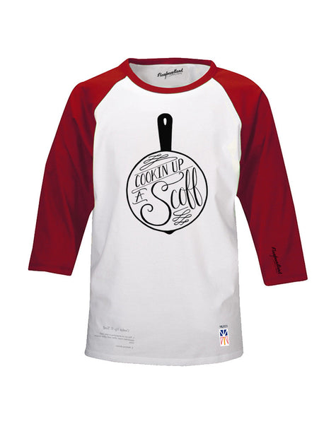 Baseball T - Cookin Up A Scoff - Male Cut - Red