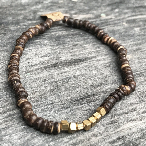 Heishi Wood + Brass Bracelet