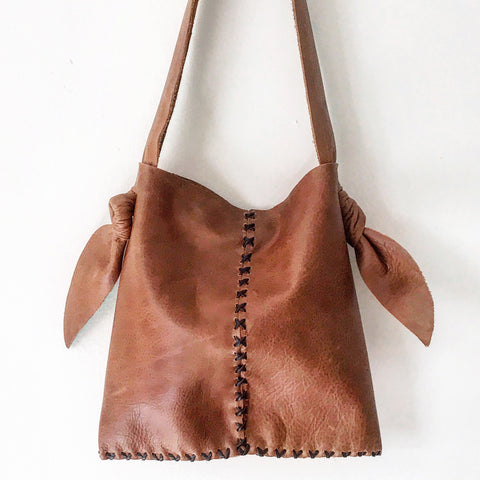 Distressed + Knotted Whiskey Leather Sack — Mini